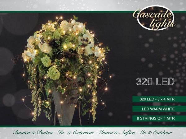 Drahtlichterkette silberfarbig, 8 Stränge à 400cm 320 LED warmweiss, Outdoor