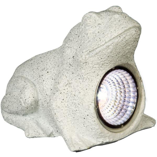 Solarstein Frosch, 1 LED kaltweiss, 10 x 12 cm, Solarpanel, Akku