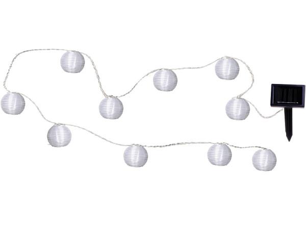 Solarlichterkette mit Lampionbällen, weiss, 10-teilig, LED kaltweiss, 270 cm