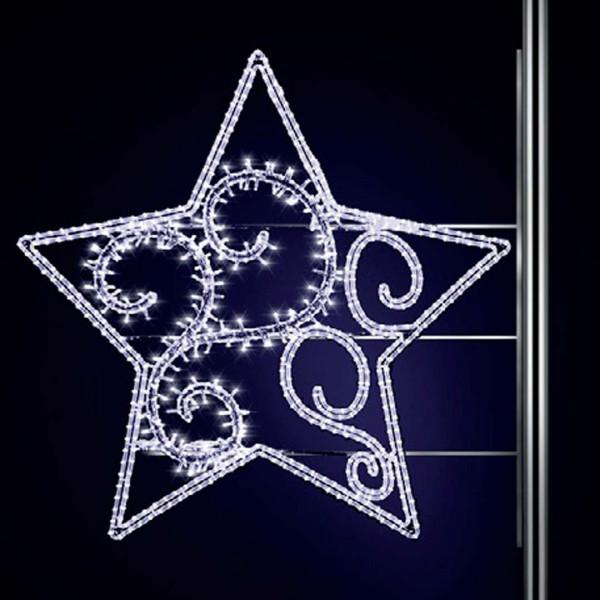 Weihnachtsstern Terranova 125, H125, B130cm, kaltweiss, leicht blinkend, Montage an Pfosten