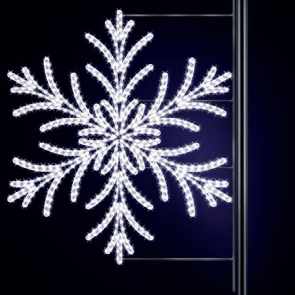 Schneeflocke Yul 150, H150, B145cm, kaltweiss, Kandelaberbeleuchtung, Laternenmontage