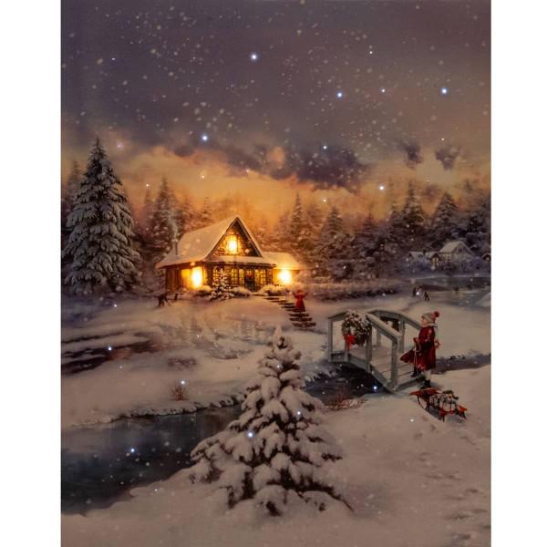 Leuchtbild LED Leinwand Winterlandschaft Kind Schlitten Haus 38x48cm
