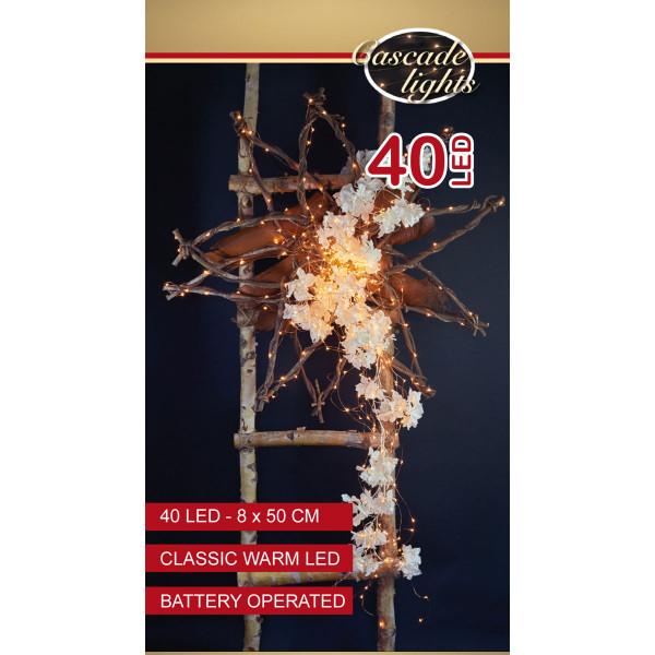 Drahtlichterkette kupferfarbig, 8 Stränge à 50 cm, 40 LED warmweiss, Indoor