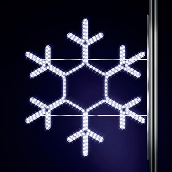 Schneeflocke Classic 120, H120, B120cm, kaltweiss, Strassenlichter, Kandelabermontage