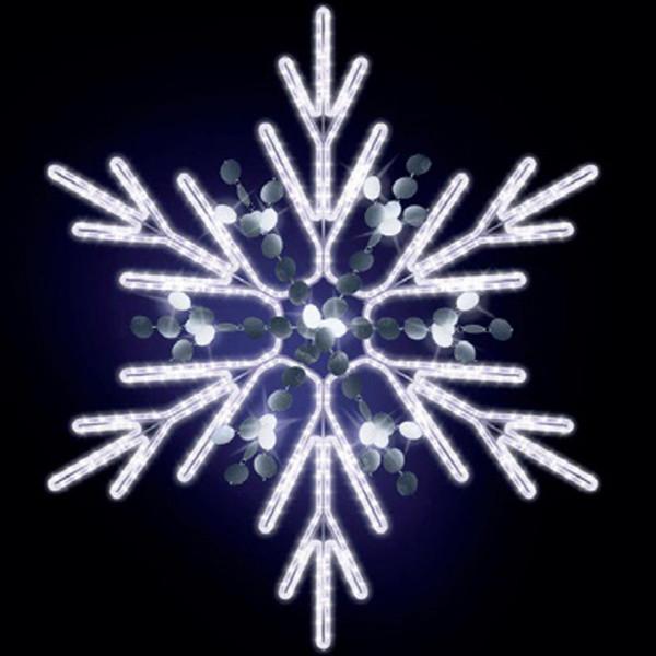 Schneeflocke Chelsy 125, H125, B110cm, kaltweiss, mit Glitter, Wandmontage