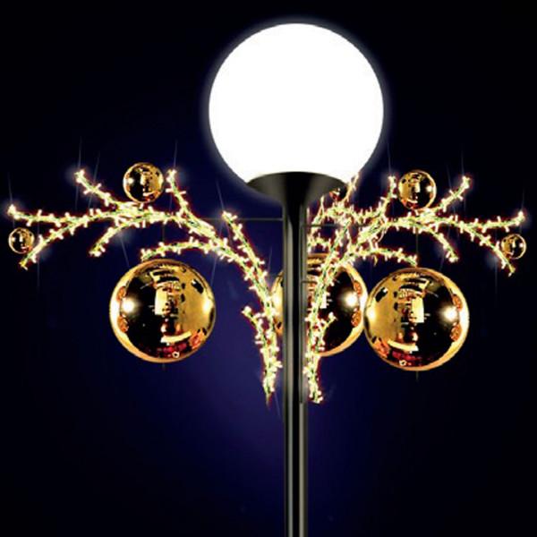 Lichtkugeln Lily 70, H70, B170, L170cm, warmweiss, 3D, drei Elemente, Kugel gold, Pfostenmontage