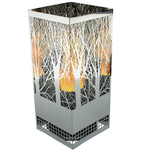 Flammenleuchte quadratisch Forest 13x13, Höhe 30cm, loderndes Feuer