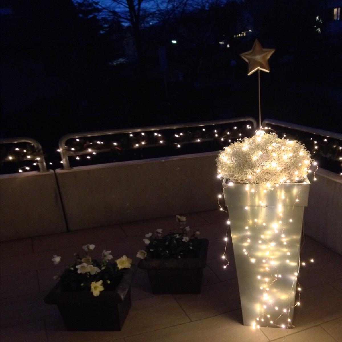 Kaskadenlichterketten auch für Pflanzentopf