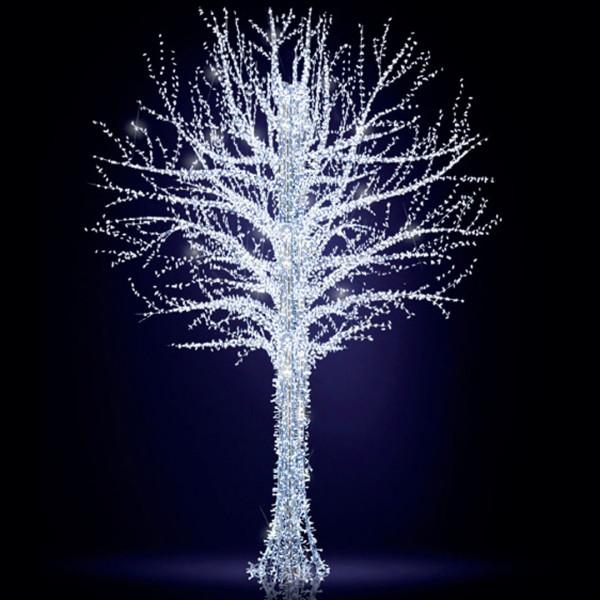 Leuchtbaum Baltic Tree 500, H500, B330, L330cm, kaltweiss, 8 Äste, 3D, leicht blinkend, mit Stange