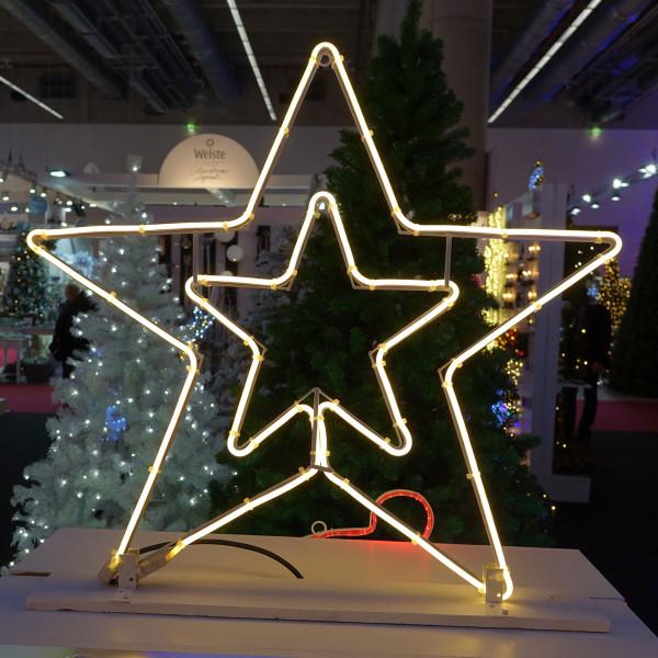 Stern Weihnachtsbeleuchtung.Stern 2 Seitig Silhouette Led Weiss Neon Flex L54 H56