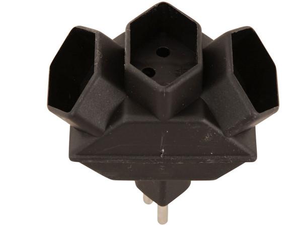 Abzweigstecker, Stromverteiler, 3xT13, schwarz