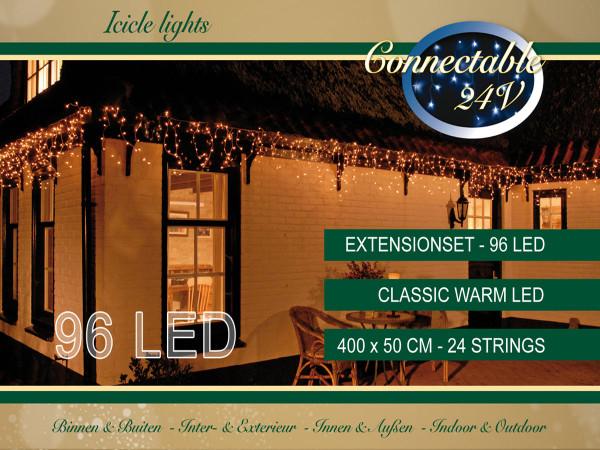 Lichterkette Icicle, 96 LED, warmweiss, 400cm, ausbaubar, Extra
