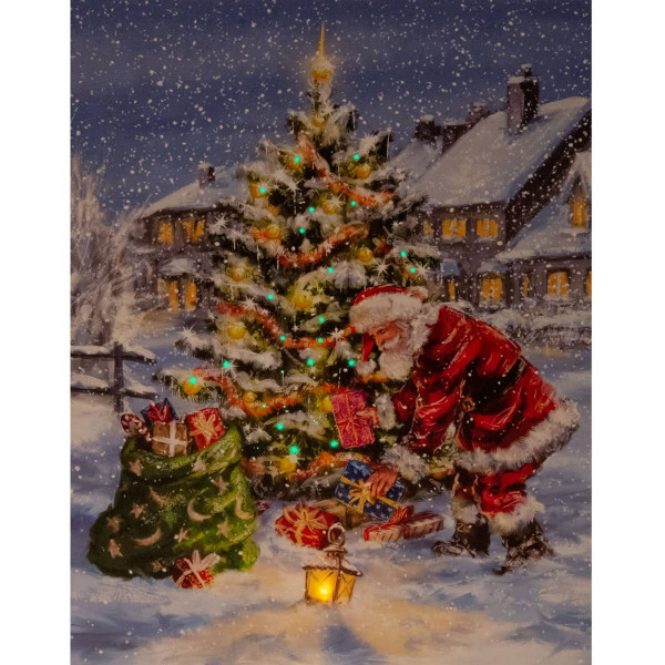 Leuchtbild LED Leinwand LED Weihnachtsbaum Nikolaus 38x48cm