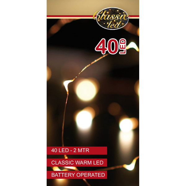 Drahtlichterkette kupferfarbig, 1 Strang 200 cm, 40 LED warmweiss, Indoor