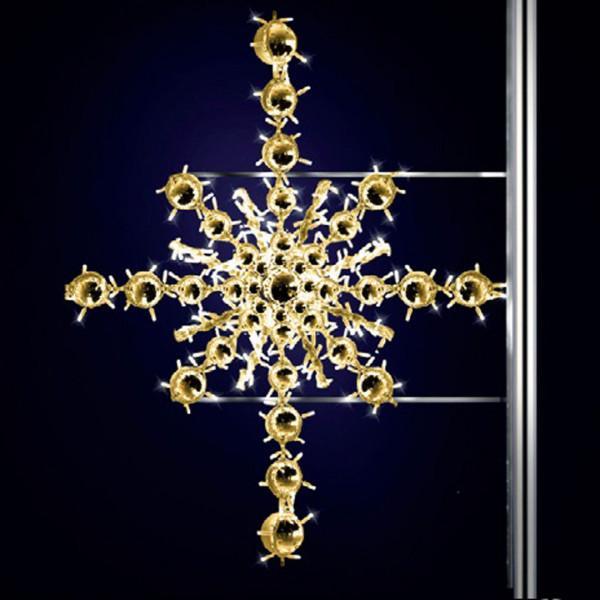 Schneeflocke Kristjan 125, H125, B120, warmweiss, Strassenlichter, Pfostenmontage