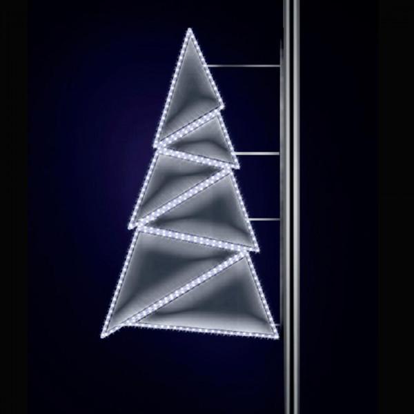 Tannenbaum Strassenlampen Poly, H125, B25cm, kaltweiss, Pfostenmontage