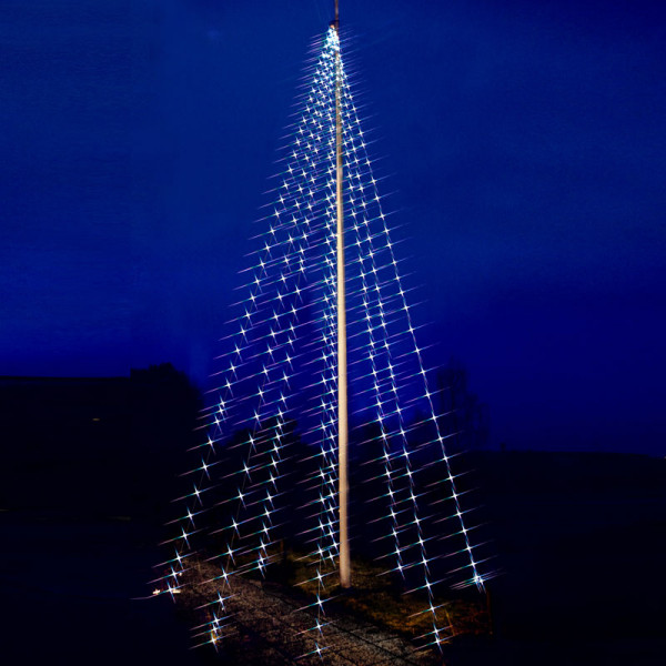 Fahnenstangen-Lichterkette, 8 Stänge à 1000 cm à 50 kaltweisse LED, Outdoor