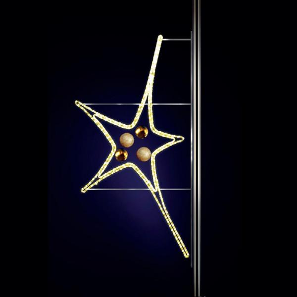 Leuchtstern Aries 170, H150, B80cm, warmweiss, Kugeln gold, Pfostenmontage