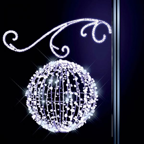 Lichterkugel Nevsky 100, H 100, B100, L60cm, kaltweiss, 3D, mit Glitter, Kandelaberbeleuchtung