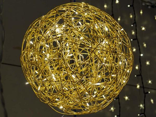 Weihnachtliche Leuchtkugel Galax 40x40cm, gold, 3,6W, 100 LED, outdoor und indoor