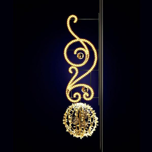 Leuchtkugel Isabella 220, H220, B60, L60cm, warmweiss, 3D, Kugeln gold, Kandelaberbeleuchtung