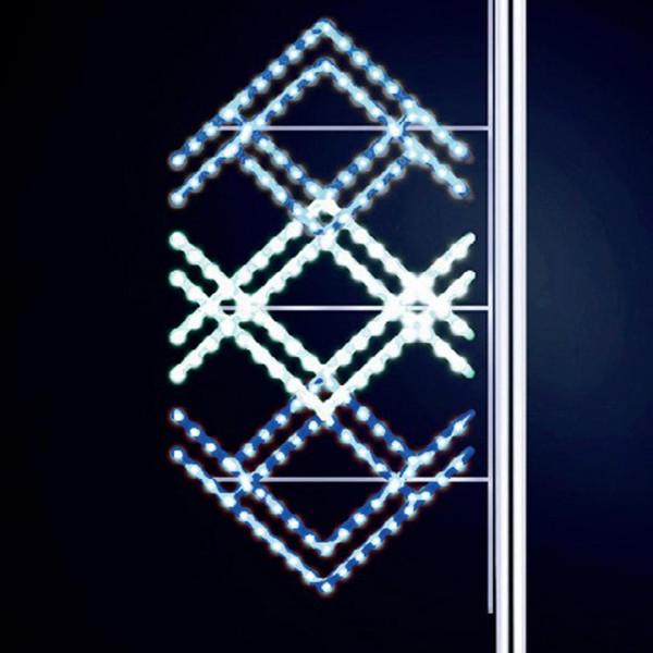 Strassenweihnachtsdekoration Ethnic 175, H175, B80cm, kaltweiss, blau kombiniert, Pfostenmontage