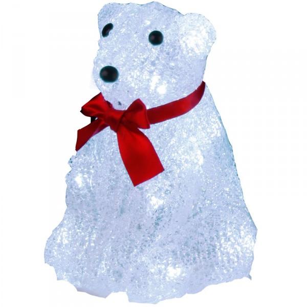 Eisbär Crystal, sitzend, 16 kaltweisse LED L11, B11, H16 cm, batteriebet. Timer