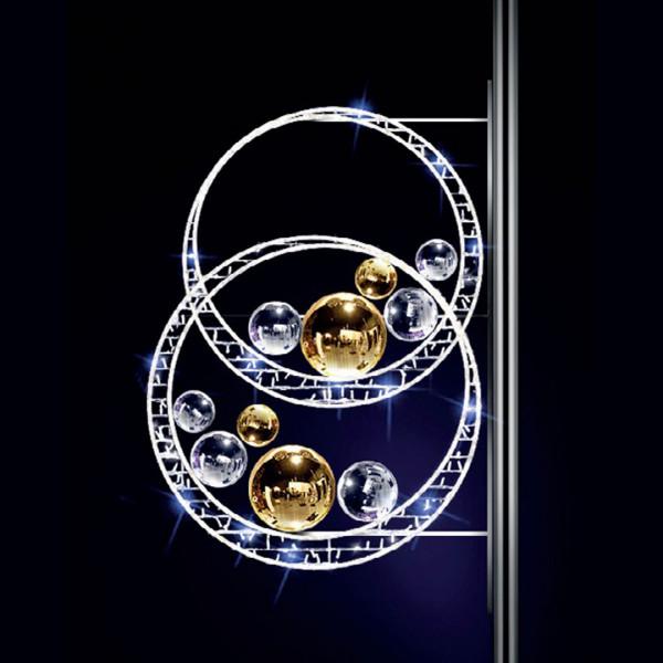 Weihnachtskugeln Sparkly 135, H135, B100cm, kaltweiss, Kugeln silber und gold, Pfostenmontage
