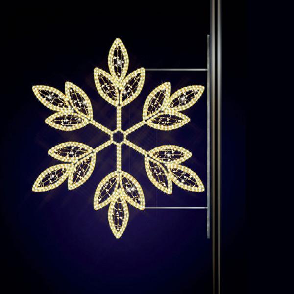 Schneeflocke Asteria 130, H130, B130cm, warmweiss, Kandelaberdekor, Pfostenmontage