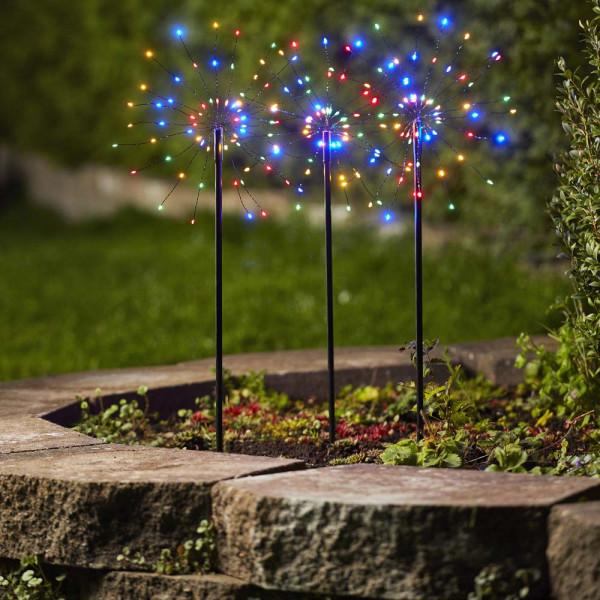 Gartendeko Feuerwerk Pusteblume, bunt, 180 LED, H65