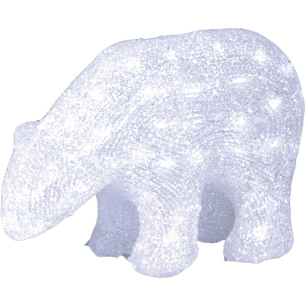 Eisbär, Polarbär beleuchtet, stehend, L32, H22 cm, 64 LED kaltweiss, Outdoor