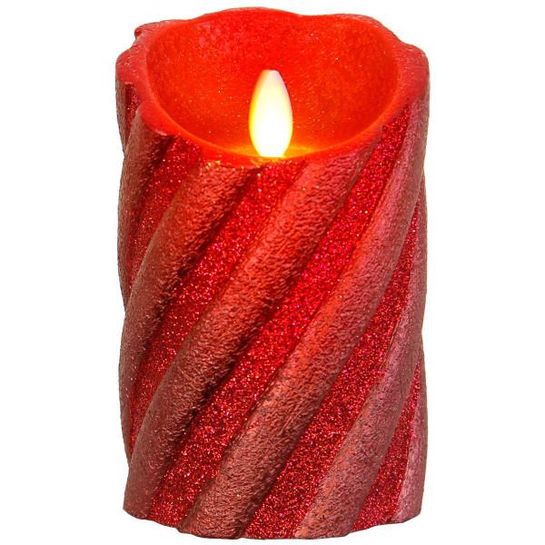 Twinkle-Star Glitzer Wachskerze, LED, Flackerlicht, Ø 8, H13 cm, rot