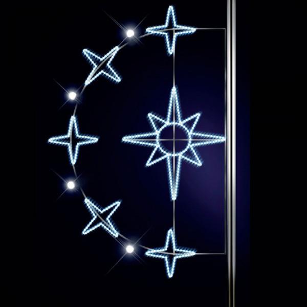 Stern Aurora 185, H185, B125 cm, kaltweiss, E27 Flash-Birne, Strassenlichter, Pfostenmontage