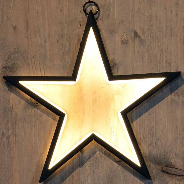 Weihnachtsstern Stern schwarzer Rand LED leuchten nach innen 34x32cm
