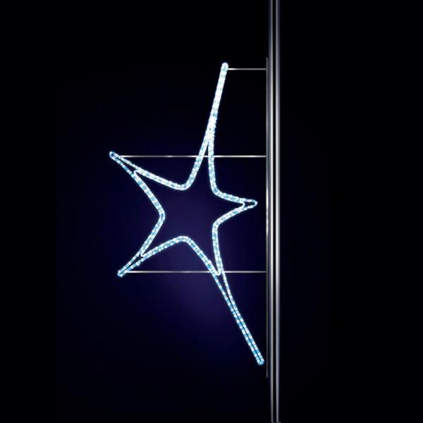 Leuchtstern Aries 100, H100, B60cm, kaltweiss, Strassenlichter, Pfostenmontage