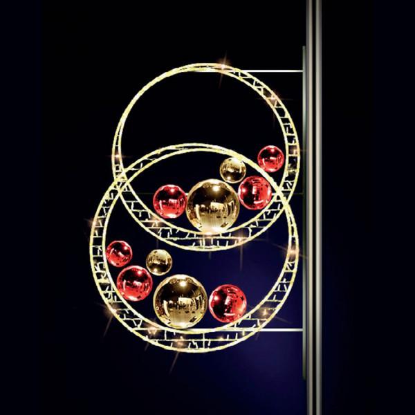 Weihnachtskugeln Sparkly 135, H135, B100cm, warmweiss, Kugeln gold und rot, Pfostenmontage