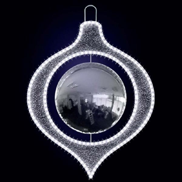 Weihnachtsbaumschmuck Manuel 70, L55, B55,H70cm, kaltweiss, Kugel silber, Baumschuck