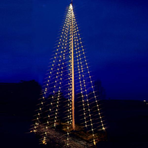 Fahnenstangen-Lichterkette, 8 Stränge à 1000 cm à 50 warmweisse LED, Outdoor