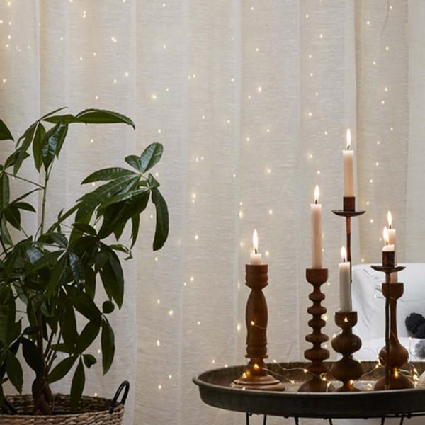 Drahtlichtervorhang 100x100 cm, 100 LED warmweiss, Indoor