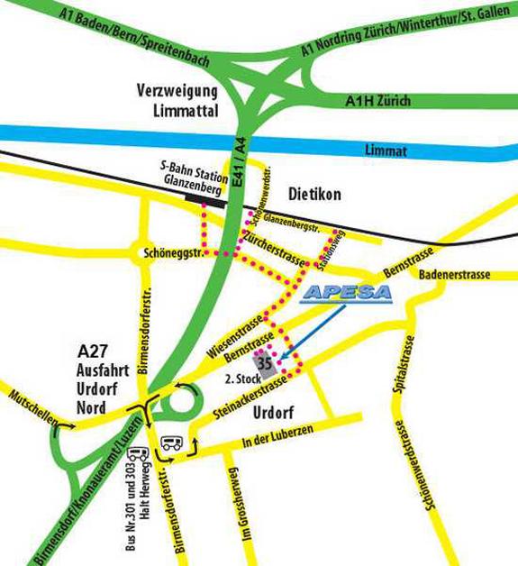 Anfahrt zur APESA AG, Steinackerstrasse 35, CH-8902 Urdorf