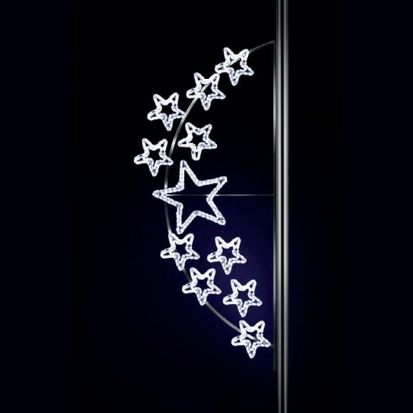 Weihnachtsstern Andromeda 250, H250, B100cm, kaltweiss, Strassenbeleuchtung, Pfostenmontage