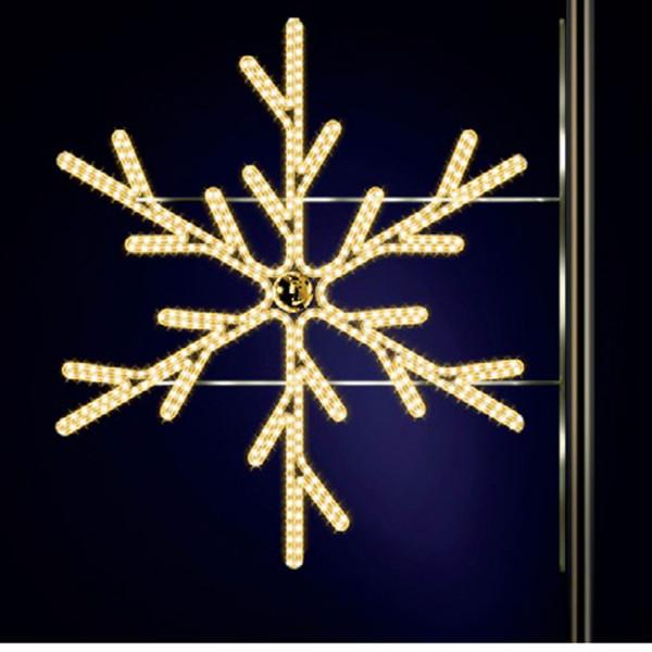 Schneeflocke Lulu 150, H150, B140cm, warmweiss, Kugel gold, Strassenlichter, Kandelabermontage