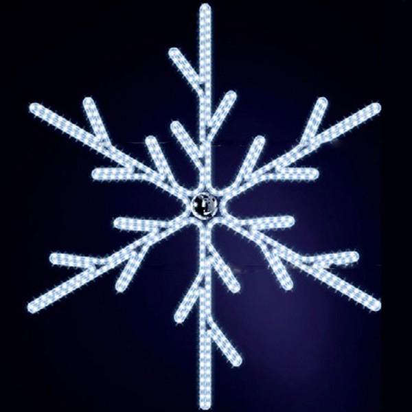 Schneeflocke Lulu 150, H150, B130cm, kaltweiss, Kugel silber, Wandmontage