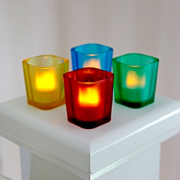 Windlichter LED, 6 cm, je blau, grün, gelb, rot , inkl. Batterie