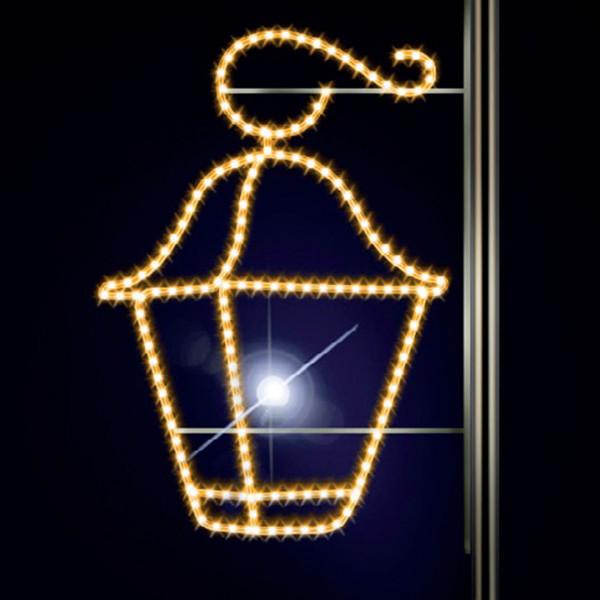 Leuchtlaterne Latern 115, H115, B85cm, warmweiss, Kandelabermontage