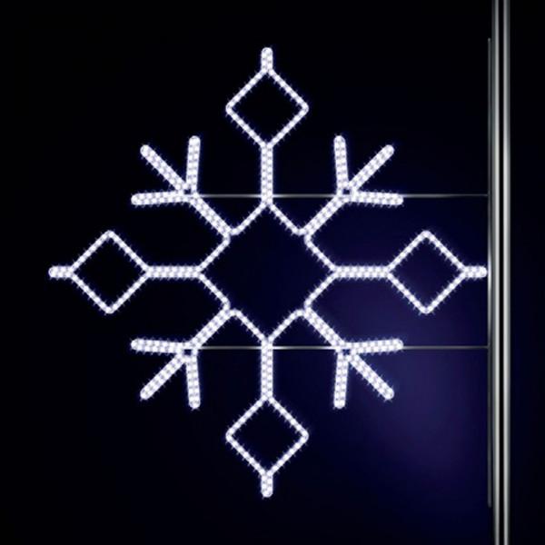 Schneeflocke Boden 180, H180, B200cm, kaltweiss, Strassenlampendeko, Kandelabermontage