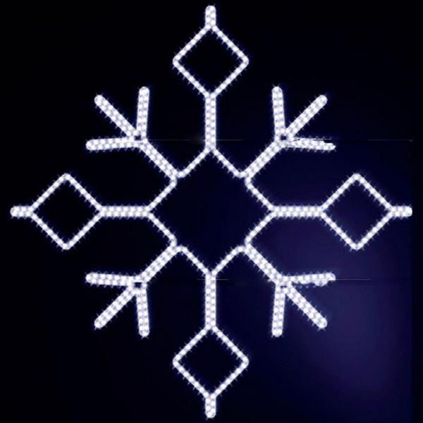 Schneeflocke Boden 180, H180, B180cm, kaltweiss, Fassadenmontage