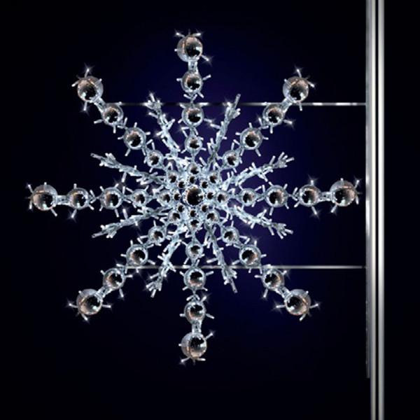 Schneeflocke Bega 125, H125, B140cm, kaltweiss, Strassenbeleuchtung, Pfostenmontage