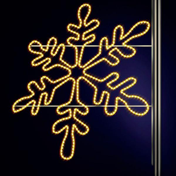 Schneeflocke Snaige 130, H130, B130cm, warmweiss, Kandelaberbeleuchtung, Pfostenmontage