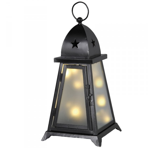 Gartenlaterne Fyris, schwarz, 38 cm, 10 warmweisse LED, outdoor
